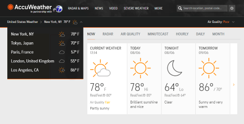 Locations on Accuweather