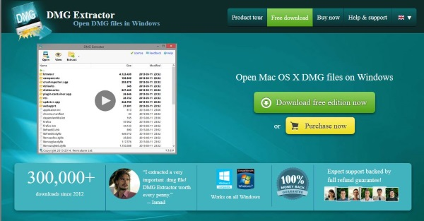 How to open a DMG file in Windows2