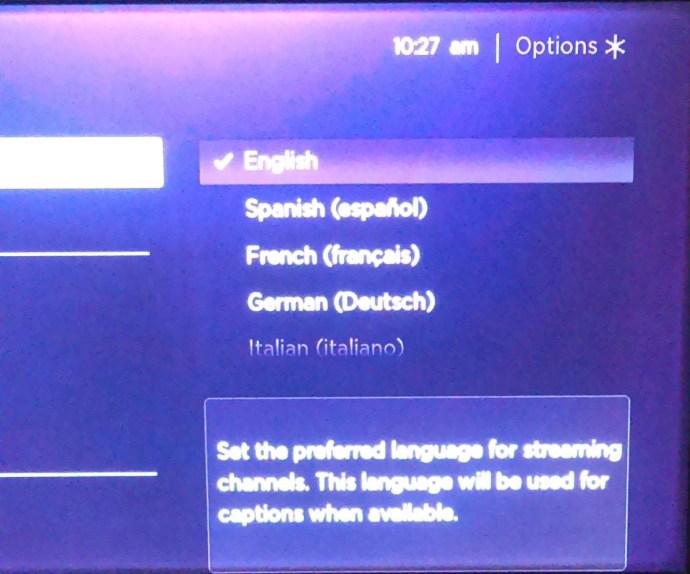 Roku languages