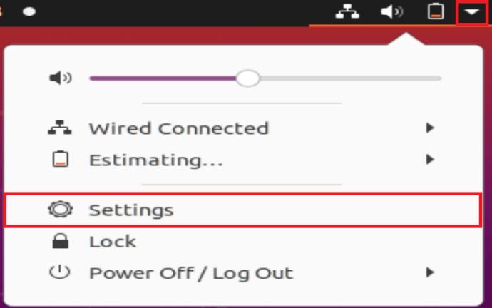 Ubuntu Settings Menu