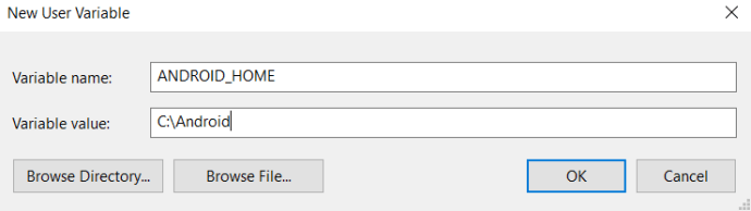 New System Variable window