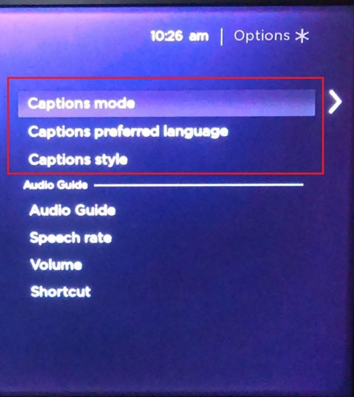 Roku Accessibility menu 2
