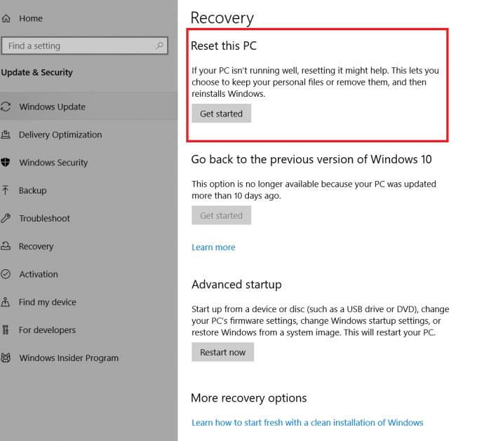 Windows Recovery Page