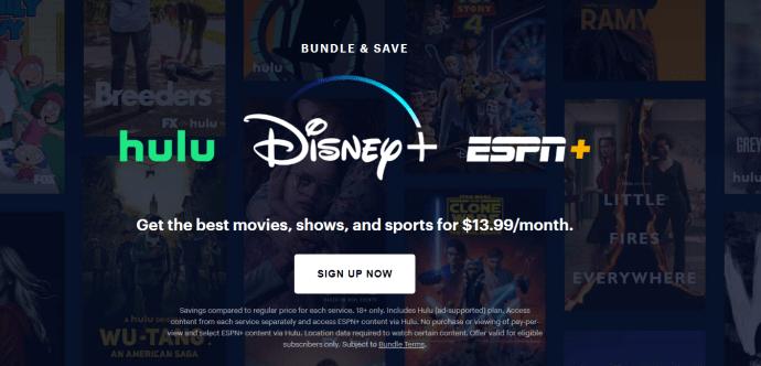 Hulu, Disney+, and ESPN+ bundle page