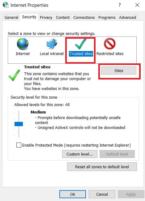 Internet Properties - Security tab