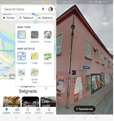 Open Street View on the Google Maps App