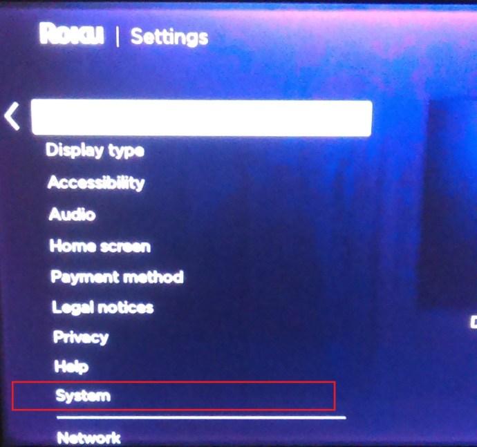 Roku settings page