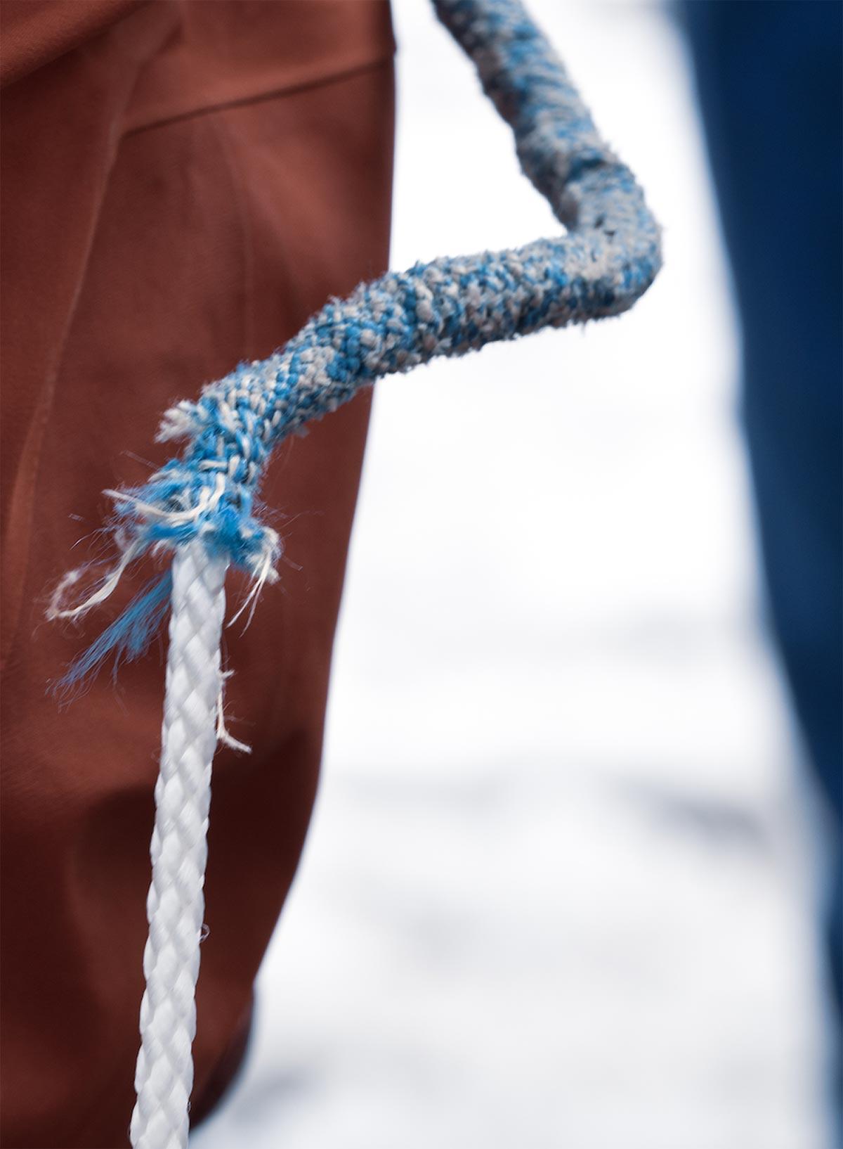 Dyneema in der Praxis, Mantel nach Verwendung mit Klemme gerissen | Alpine Kompetenz