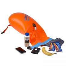 Floating buoy, inflated, roll buckle open for loading