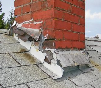 bent and broken chimney flashing
