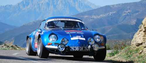 Deux Alpine A110 au Cap Corse Historic Rally 2016