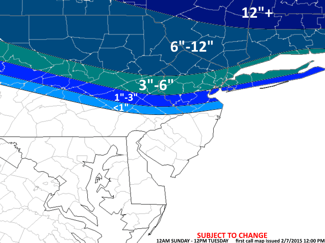 First Call Snow Map 2-7