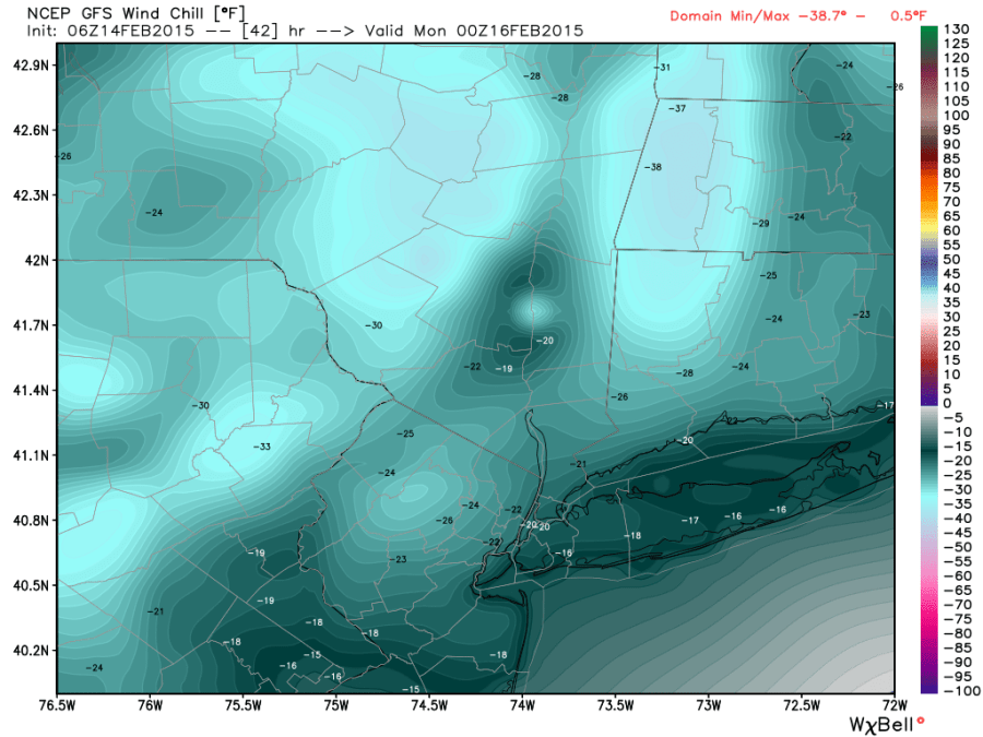 GFS wind chills  sunday 7PM