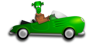 Frankenstein in Car.