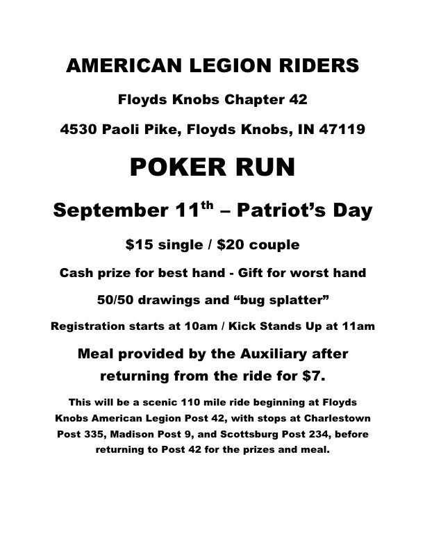 ALR 42 Poker Run Flyer