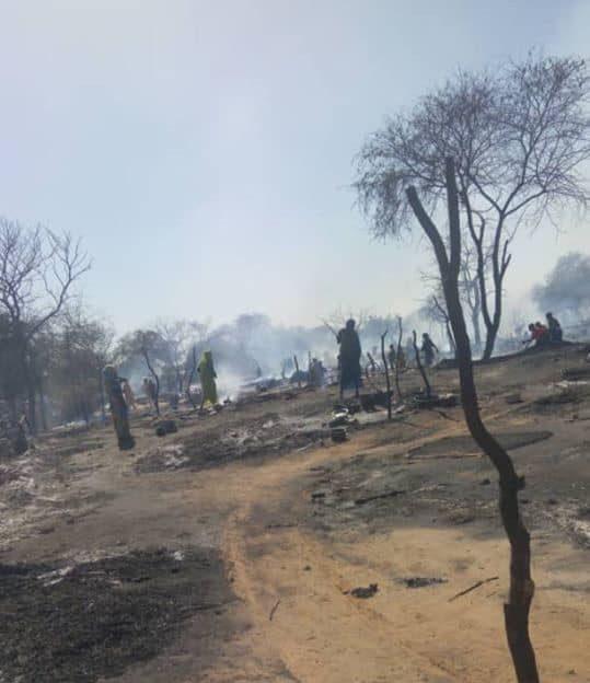 حريق على معسكر (دار السلام للنازحين ) في ولاية جنوب دارفور