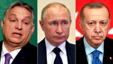 (من اليمين) أردوغان وبوتين وأوربان REUTERS/EPA
