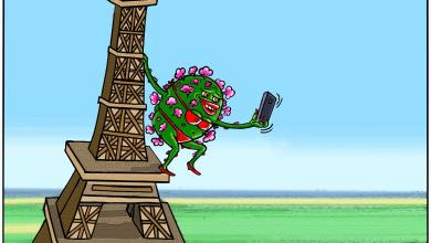 كورونا تعبث بفرنسا ... كاريكاتير عمر دفع الله