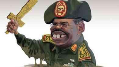 عمر البشير يحمل سيفاً خشبياً كاريكاتير