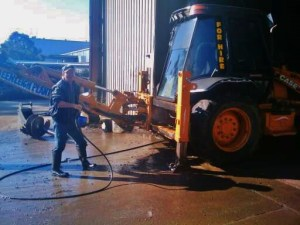 backhoe cleaning