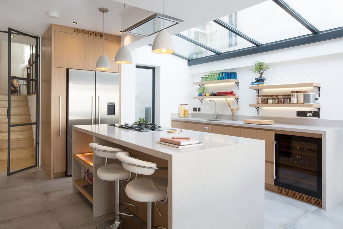 Kitvhen with marble worktops and skylight