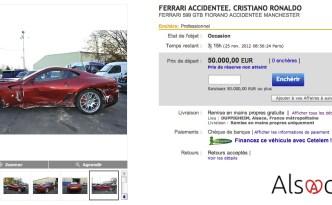 Enchère Ferrari accidentée - Cristiano Ronaldo
