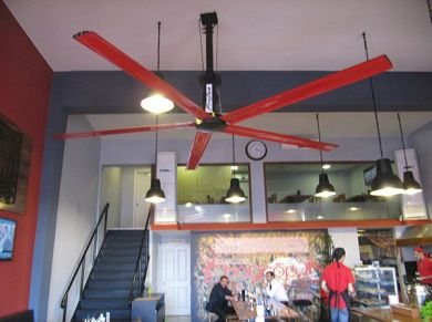 Cafe Ceiling Fans Applications, Cafe HVLS Fans Applications