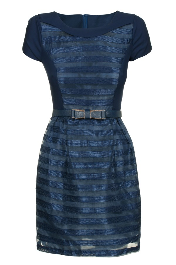 Sukienka szyfonowa mini granatowa packshot front