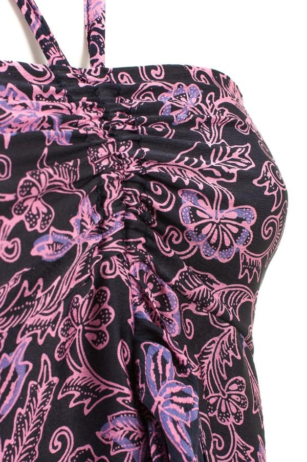 Sukienka jedwabna midi, podkreślająca dekolt, wiązana na szyi, packshot zoom