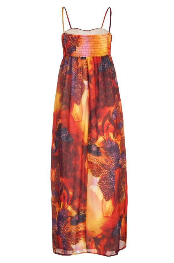 Sukienka maxi jedwabna w kolorze ognia packshot back