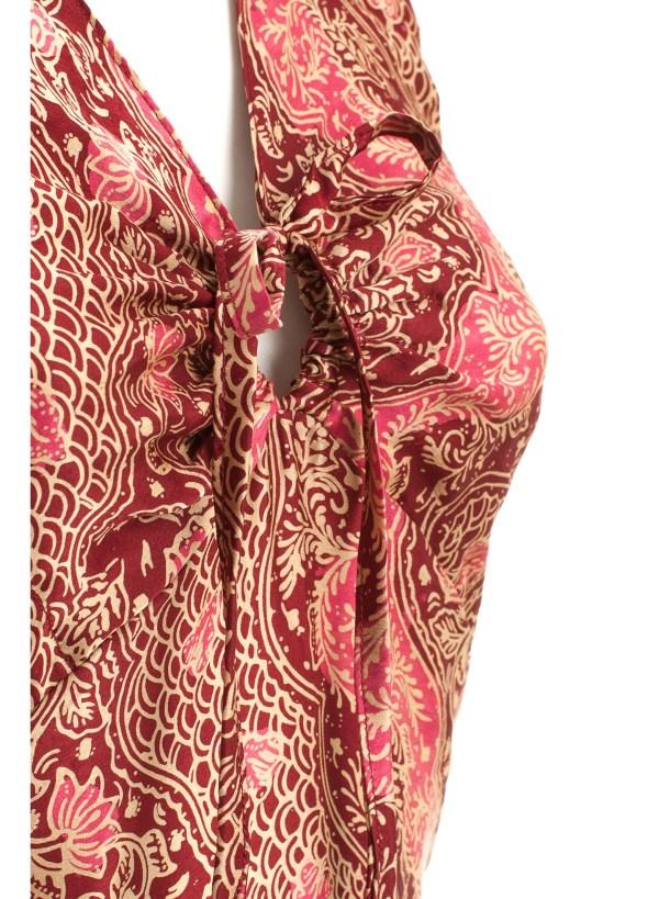 Sukienka maxi z naturalnego jedwabiu z wiązaniem na szyi i profilowanym dekoltem Singaraja packshot zoom