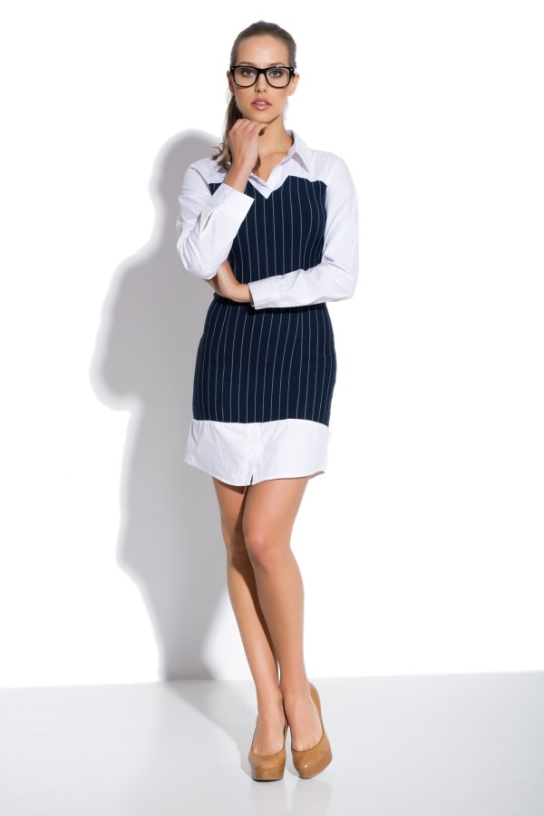Sukienka mini koszulowa z gorsetem model front
