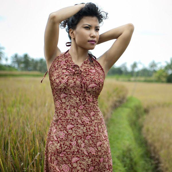 Robe maxi en soie naturelle Singaraja