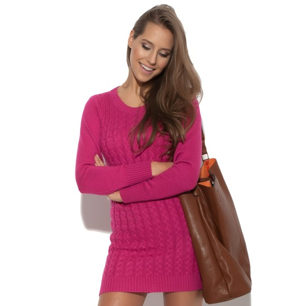 Robe mini en maille à manches longues Knitty Witty rose