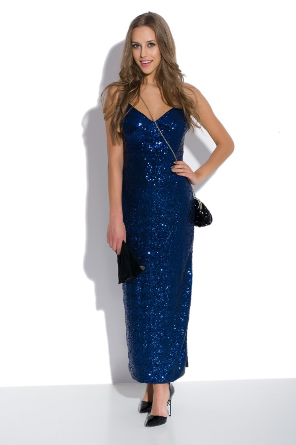 Sukienka cekinowa maxi na ramiączkach