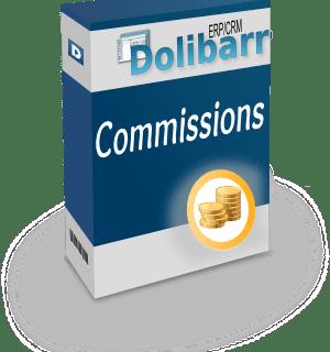 Dessin d'une boîte avec marqué Commissions et Dolibarr