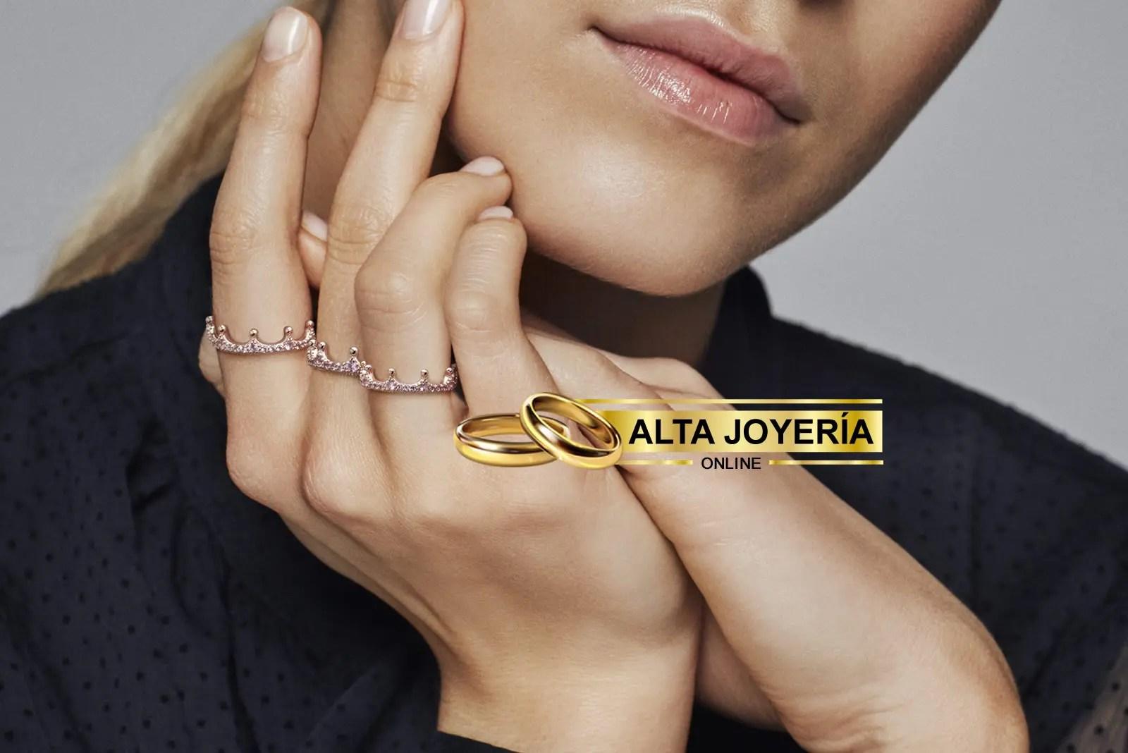 anillo pandora oro rosa con circonitas