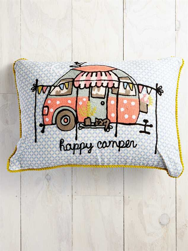 happy camper embroidered pillow altar