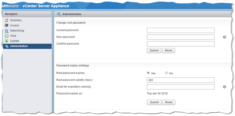 How to reset the root password for VCSA 6 x