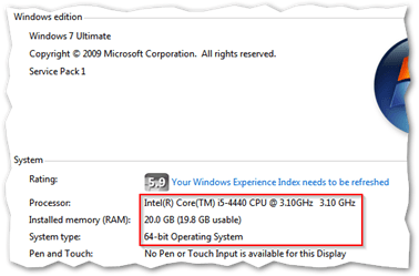 Some of the hardware specs on my trusty Windows 7 home PC