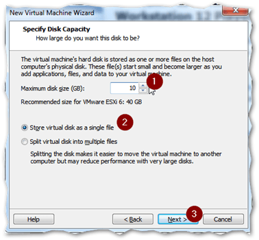 Specify the size of the VM's hard disk (VMDK)