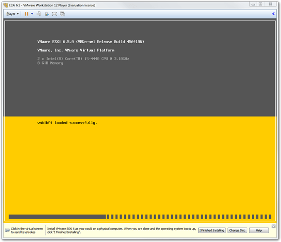 The ESXi installer will run automatically after the VM is powered up