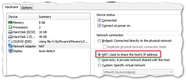 Configure VMs to use NAT