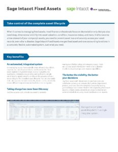 Fixed Assets Datasheet