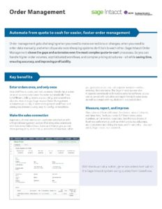 Order Management Datasheet