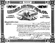 Stock certificate from the Ezekial Airship Manufacturing Company