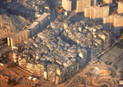 Aerial view of Kowloon Walled City