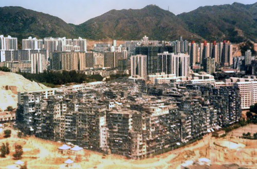 Aerial view of Kowloon Walled City during early development