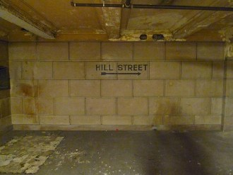 Hill Street sign in old LA subway system