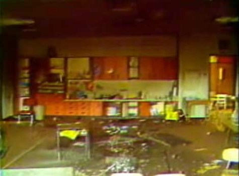 Cokeville Elementary classroom after the bomb exploded